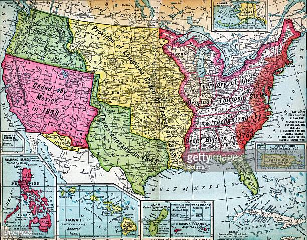 Map of the United States and its possessions showing territorial growth from the original thirteen colonies Undated engraving