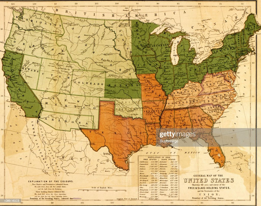 A map of the United States showing the distinctions and boundaries between slaveholding and free states as well as the territories of the Union 1857...