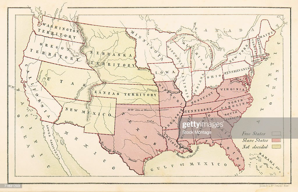 A map of the United States that shows 'free states,' 'slave states,' and 'undecided' ones, as it appeared in the book 'American Slavery and Colour,' by William Chambers, 1857.