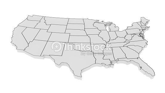 미국의 3D 지도 : 스톡 사진