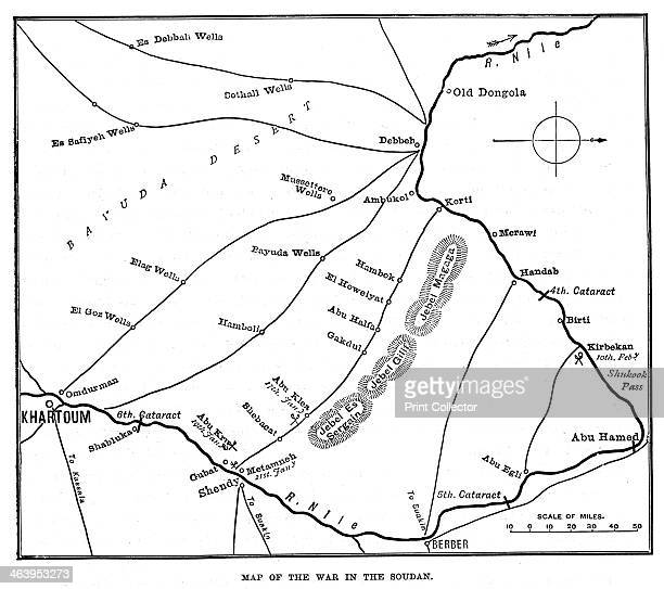 'Map of the War in the Soudan' late 19th century Map showing Sudan with the River Nile Khartoum and Omdurman scene of a battle in 1898 between...