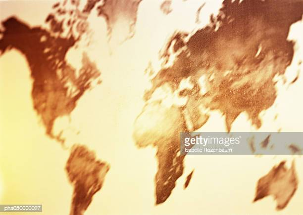 Map, of the world, blurred, sepia.
