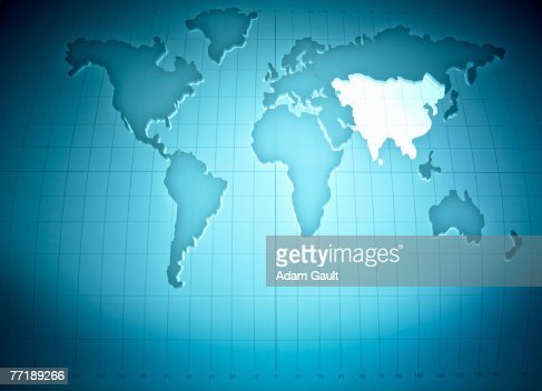 Map of the world highlighting Asia : Foto de stock