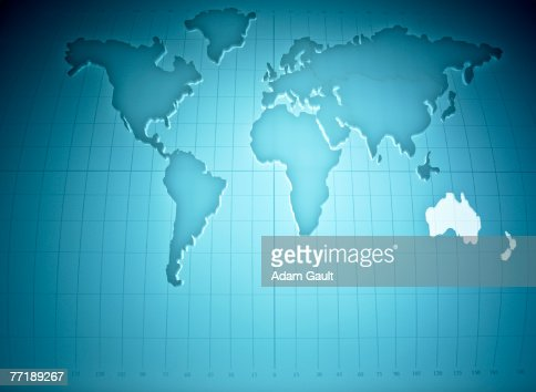 Map of the world highlighting Australia and New Zealand : Stock Photo