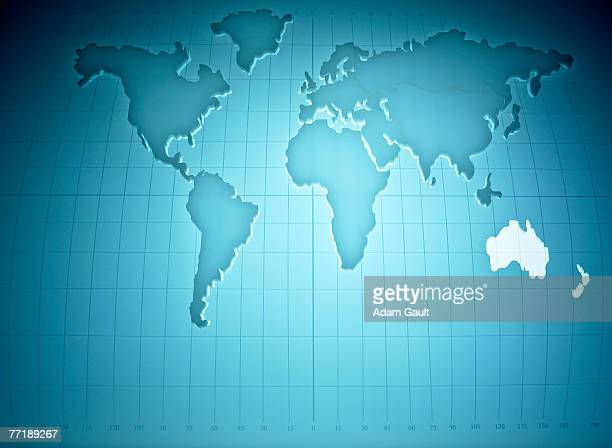 Map of the world highlighting Australia and New Zealand