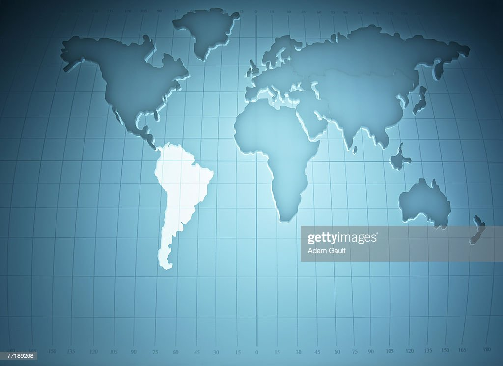 Map of the world highlighting South America