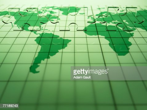 map of the world with transparent puzzle piece : Stock Photo