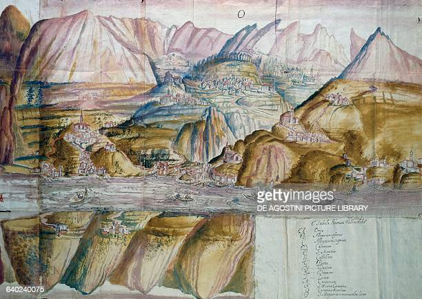 Map of Valsolda ink and watercolour on paper 70x985 cm Italy 17th century Milano Archivio Storico Diocesano