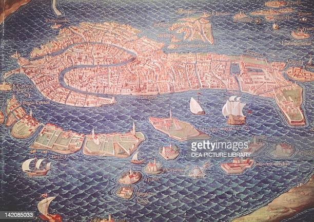 Map of Venice and its lagoon by Antonio Danti 158083 Italy 16th Century
