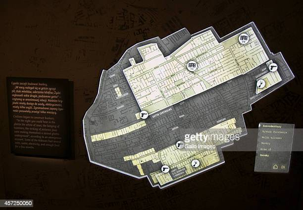 A map of Warsaw Ghetto at the Core Exhibition of Polin on October 10 2014 at Polin Museum of History in Warsaw Poland The museum looks at the History...
