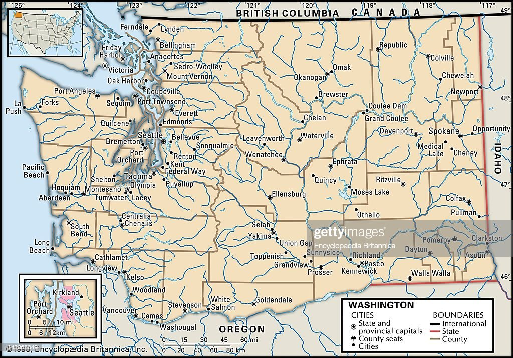 Map Of Washington State Pictures Getty Images - Washington political map