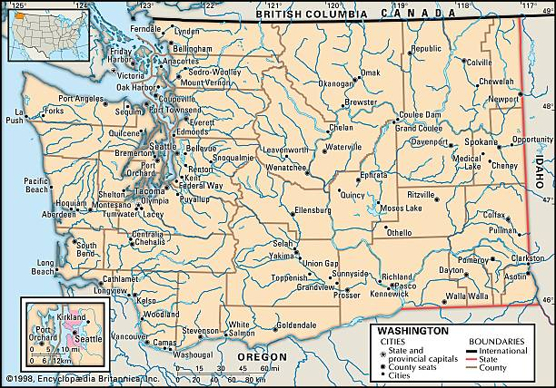Map Of Washington State Pictures Getty Images - Map of washington