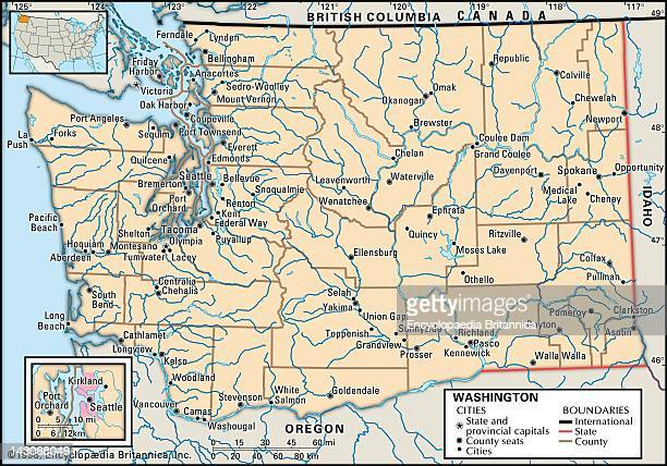 Map Of Washington State Political Map Of The State Of Washington State With An Inset Of The Seattle Metropolitan Area