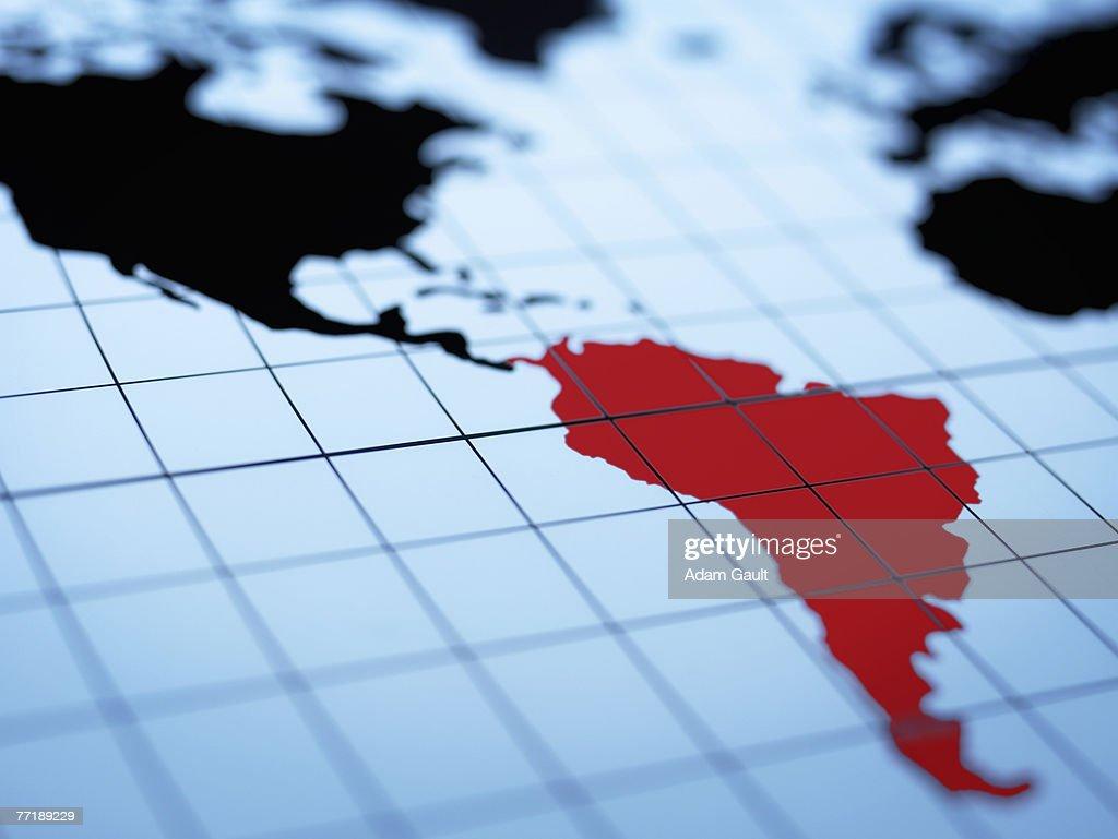 Map of western hemisphere highlighting South America