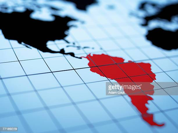 Map of western hemisphere highlighting South America