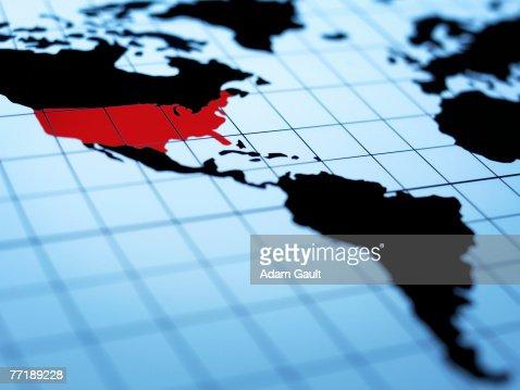 Map of western hemisphere highlighting USA : Stock Photo