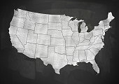 USA map on blackboard (Click for more)