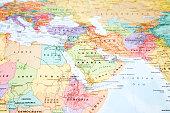 Map close up: Africa, Asia.