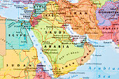 Map with Saudi Arabia in focus.