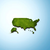 Green 3D highly detailed USA map