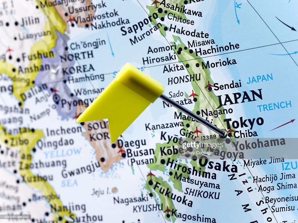 Map Pin Placed In Tokyo Japan On Map Closeup Stock Photo Getty - Japan map tokyo