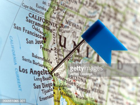 Map Pin Placed On Los Angeles California On Map Closeup Stock - Los angeles on the map