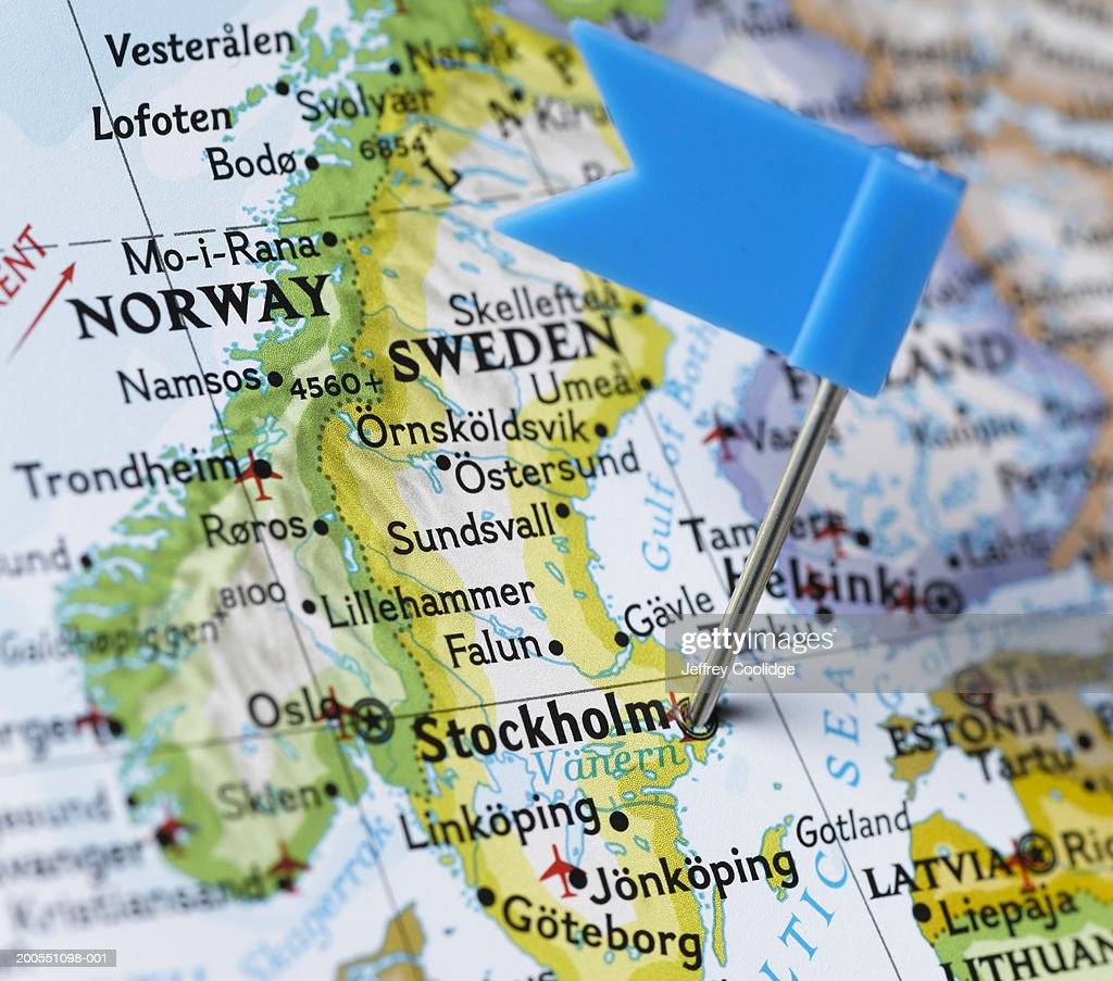 Map Pin Placed On Stockholm Sweden On Map Closeup Stock Photo - Sweden map stockholm