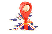Map pointer on the map of United Kingdom, 3D rendering isolated on white background