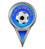 glossy blue map pointer with public viewing - illustration