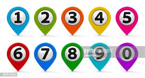 Mapa Plano Con Pin Icono De Puntero De La: Mapa Conjunto De Punteros Con Numbers Foto De Stock