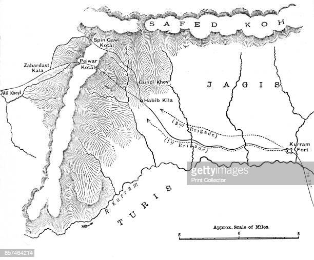 Map Showing March of General Roberts to Peiwar Kotal ' circa 1880 From British Battles on Land and Sea Vol IV by James Grant [Cassell Petter Galpin...