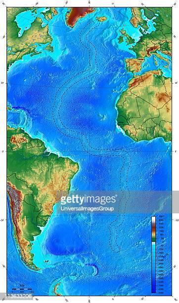 Map showing ocean floor with the MidAtlantic ridge
