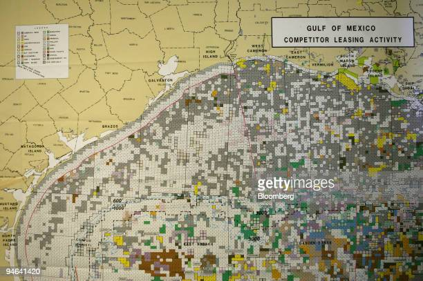 A map showing parcels leased by major oil companies is seen aboard the Discoverer Deep Seas a Transocean deepwater drill ship Monday December 11 in...