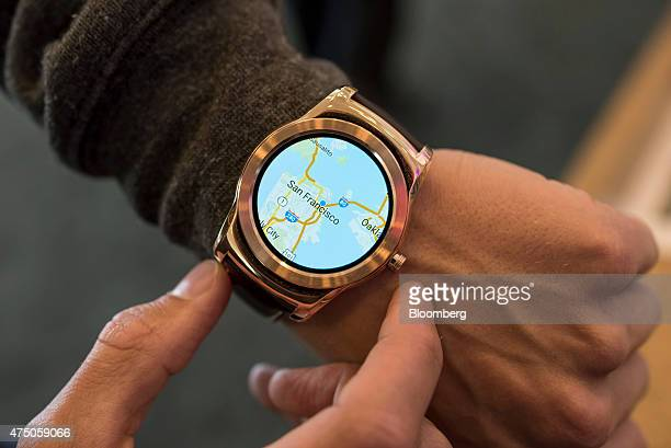 A map showing San Francisco is seen on an LG Electronics Inc Urbane Smartwatch running Google Inc's Android OS for a photograph during the Google I/O...