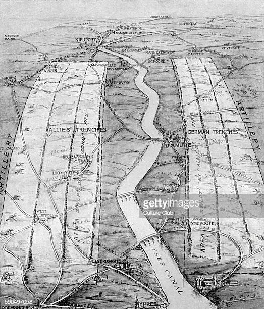 Map showing the deadlock between the Allied and German forces along the Yser canal