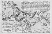 A map showing the dispositions of the British forces under the command of King George II and in alliance with those of Hanover and Hesse defeated a...
