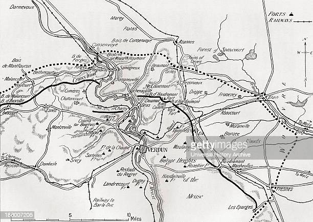 Map Showing The Principal Forts And The Position Of The French Line At The Beginning Of The Battle Of Verdun And After The Great Attack In April 1916...