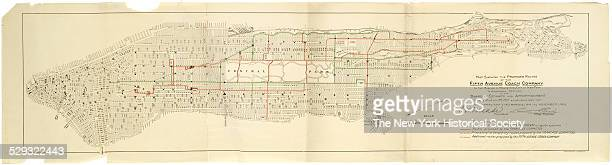 Map showing the proposed routes of the Fifth Avenue Coach Company in the Borough of Manhattan City of New York to accompany petition to the Board of...