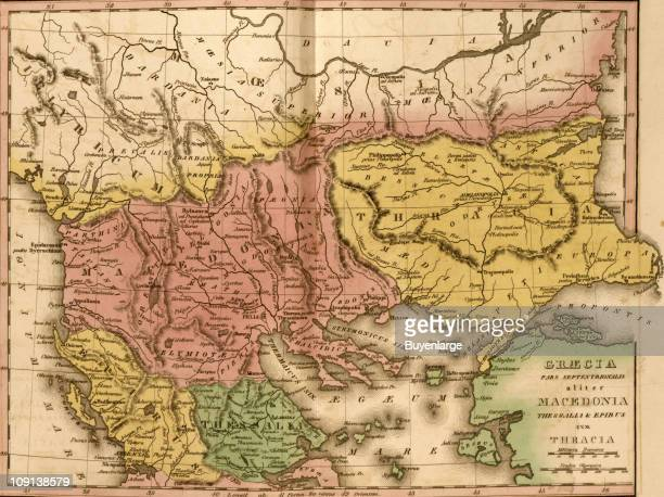 A map shows ancient Greece Macedonia and Thrace