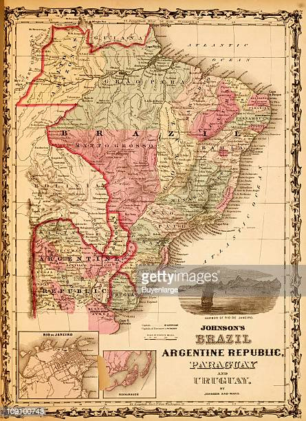 A map shows Brazil Argentina Paraguay and Uraguay 1862