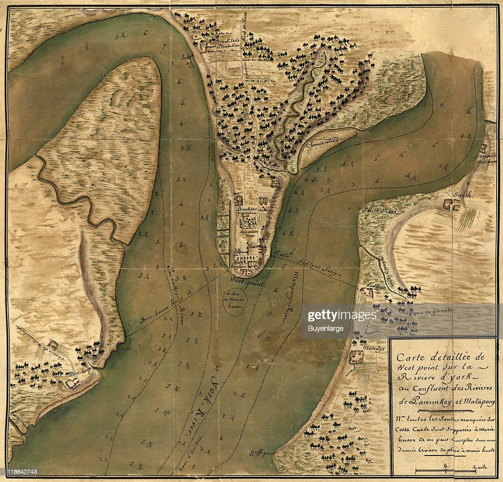 Map shows depth soundings for a section of the Hudson River near West Point New York 1781 The text at bottom reads in part 'Carte detaillee de West...