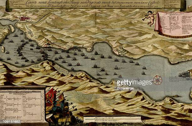 A map shows ship placement during the Battle of Vigo Bay Spain 1702