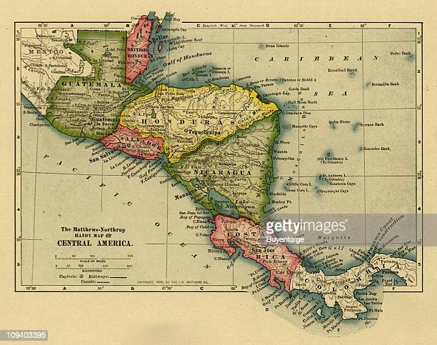 A map shows shows the countries of Central America Guatamala British Honduras Hondouras Salvador Nicaragua Costa Rica and Colombia 1902