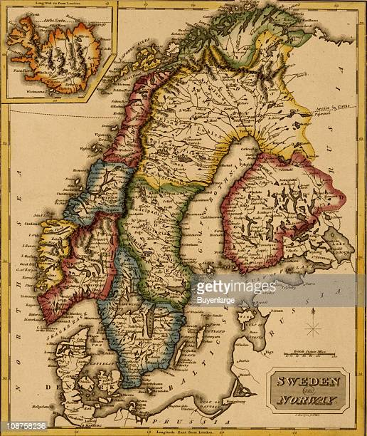 Map shows Sweden Norway and Finland 1817
