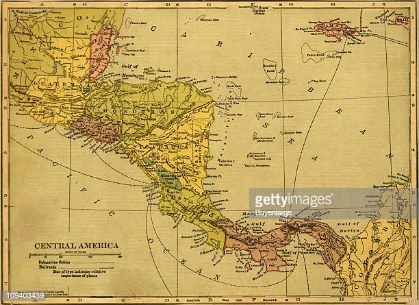 A map shows the countries of Central America Guatamala British Honduras Hondouras Salvador Nicaragua Costa Rica Panama and Colombia 1904