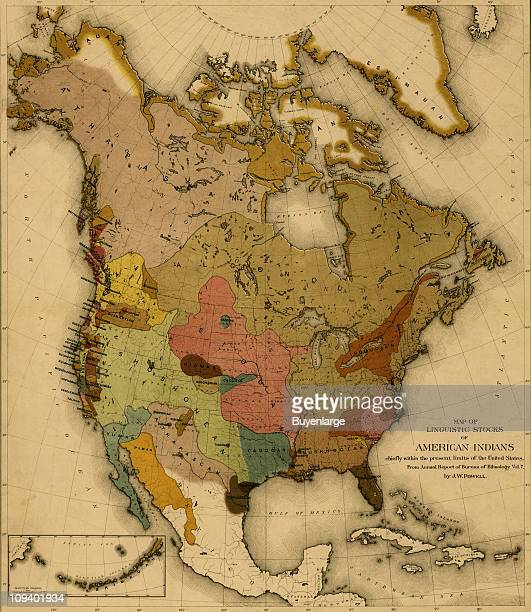 A map shows the spread of various Native American and First Nations languages in North American 1890