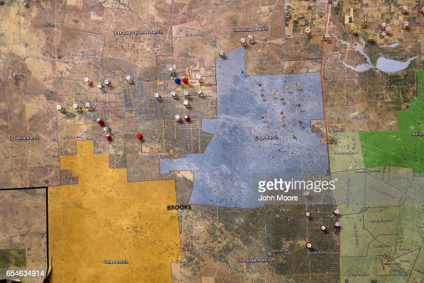 A map shows water stations set along remote migrant trails on March 17 2017 in Falfurrias Brooks County Texas The South Texas Human Rights Center...