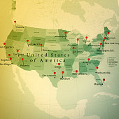 3D Render of a Map of the USA with Straight Pins at the Position of important Cities. Vintage Color Style. Very high resolution available!  All source data is in the public domain. http://www.naturale