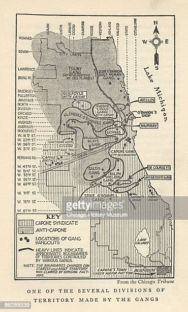 A map that outlines Chicago's gang territories charts Al Capone's control of the South Side and Roger Touhy's of the Northwest Side ca1925 In between...