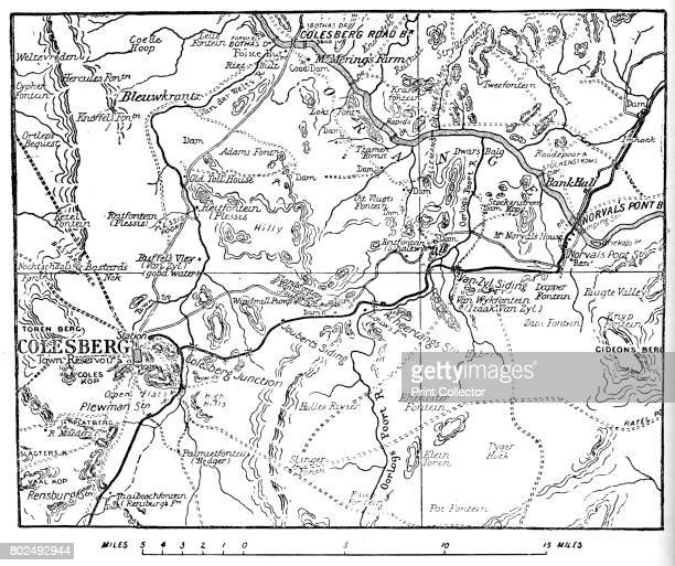 Map to Illustrate the Operations Round Colesberg' 1902 The Second Boer War South Africa From Battles of the Nineteenth Century Vol III [Cassell and...